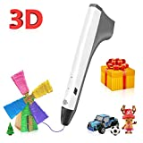 3D Pen,3D Printing Pen Compatible with 1.75mm PLA Filament,Coming with Shovel and Stencil as Bonus,White Color